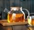 Чайник заварочный стеклянный с бамбуковой крышкой 1000 мл 9