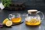 Чайник заварочный стеклянный с бамбуковой крышкой 1000 мл 6