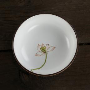 Пиала керамическая Цветок лотоса 50 мл (широкая)