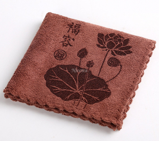 Полотенце чайное коричневое Цветок лотоса 30х30 см