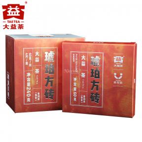 Чай Шу Пуэр Мэнхай Да И Янтарная плитка 1701 2017 года 60 г