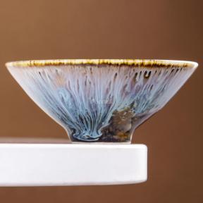 Піала керамічна глазурована Доулі 90 мл (сіра з білим)