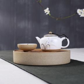 Чабань круглая (керамика/бамбук, серый камень)
