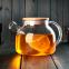 Чайник заварочный стеклянный с бамбуковой крышкой 1000 мл